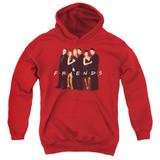 Friends Cast In Black Youth Pullover Hoodie Sweatshirt Red