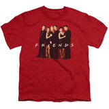 Friends Cast In Black Youth T-Shirt Red