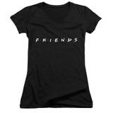 Friends Logo Junior Women's V-Neck T-Shirt Black