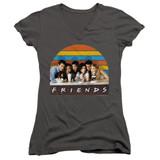 Friends Soda Fountain Junior Women's V-Neck T-Shirt Charcoal
