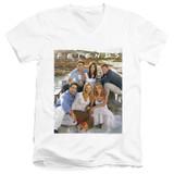 Friends Lifes A Beach Adult V-Neck T-Shirt 30/1 White