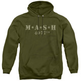 MASH Distressed Logo Adult Pullover Hoodie Sweatshirt Military Green