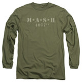 MASH Distressed Logo Adult Long Sleeve T-Shirt Military Green