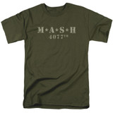 MASH Distressed Logo Adult 18/1 T-Shirt Military Green