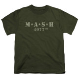MASH Distressed Logo Youth T-Shirt Military Green