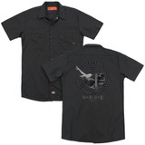 MASH Great Helmet(Back Print) Adult Work Shirt Black