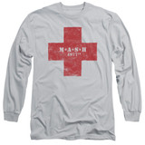 MASH Red Cross Adult Long Sleeve T-Shirt Silver