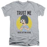 Bob's Burgers Trust Me Adult V-Neck T-Shirt Athletic Heather