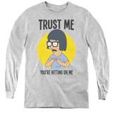 Bob's Burgers Trust Me Youth Long Sleeve T-Shirt Athletic Heather