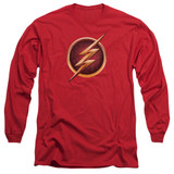 The Flash Chest Logo Adult Long Sleeve T-Shirt Red