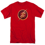 The Flash Chest Logo Adult 18/1 T Shirt Red