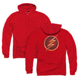 The Flash Chest Logo (Back Print) Adult Zipper Hoodie Sweatshirt Red