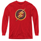 The Flash Chest Logo Youth Long Sleeve T-Shirt Red