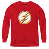 The Flash Season 4 Logo Youth Long Sleeve T-Shirt Red