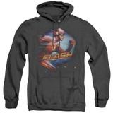 The Flash Fastest Man Adult Heather Hoodie Sweatshirt Black