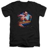 The Flash Fastest Man Adult V-Neck T-Shirt Black