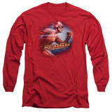 The Flash Fastest Man Adult Long Sleeve T-Shirt Red