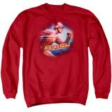 The Flash Fastest Man Adult Crewneck Sweatshirt Red