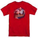 The Flash Fastest Man Adult 18/1 T Shirt Red