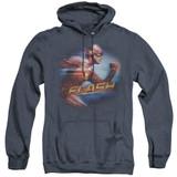 The Flash Fastest Man Adult Heather Hoodie Sweatshirt Navy