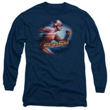 The Flash Fastest Man Adult Long Sleeve T-Shirt Navy