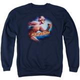 The Flash Fastest Man Adult Crewneck Sweatshirt Navy