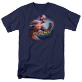 The Flash Fastest Man Adult 18/1 T Shirt Navy