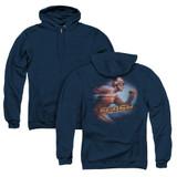 The Flash Fastest Man (Back Print) Adult Zipper Hoodie Sweatshirt Navy