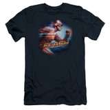 The Flash Fastest Man Adult 30/1 T-Shirt Navy