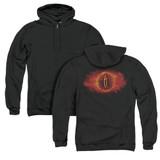 Lord of the Rings Eye Of Sauron (Back Print) Adult Zipper Hoodie Sweatshirt Black