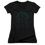 Lord Of The Rings Doors Of Durin Junior Women's V-Neck T-Shirt Black