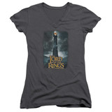 Lord Of The Rings Always Watching Junior Women's V-Neck T-Shirt Charcoal