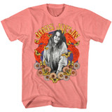 Janis Joplin Collage Coral Silk Heather Adult T-Shirt