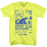 Ace Attorney Print Ad Neon Yellow Heather Adult T-Shirt