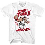 Street Fighter Hadoken White Adult T-Shirt
