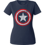 Captain America Distressed Shield Junior Women's Crew Classic T-Shirt - Clearance