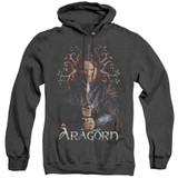 Lord of the Rings Aragorn Adult Heather Hoodie Sweatshirt Black