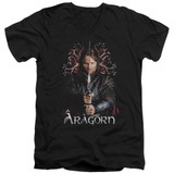 Lord of the Rings Aragorn Adult V-Neck T-Shirt Black