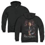 Lord of the Rings Aragorn (Back Print) Adult Zipper Hoodie Sweatshirt Black