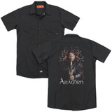 Lord of the Rings Aragorn(Back Print) Adult Work Shirt Black