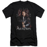 Lord of the Rings Aragorn Premium Canvas Adult Slim Fit 30/1 T-Shirt Black