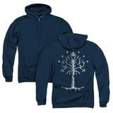 Lord of the Rings Tree Of Gondor (Back Print) Adult Zipper Hoodie Sweatshirt Navy