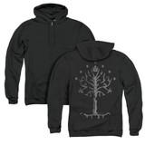 Lord of the Rings Tree Of Gondor (Back Print) Adult Zipper Hoodie Sweatshirt Black