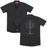 Lord of the Rings Tree Of Gondor(Back Print) Adult Work Shirt Black