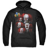IT 1990 Many Faces Of Pennywise Adult Pullover Hoodie Sweatshirt Black
