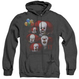 IT 1990 Many Faces Of Pennywise Adult Heather Hoodie Sweatshirt Black