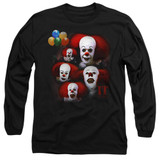 IT 1990 Many Faces Of Pennywise Adult Long Sleeve T-Shirt Black