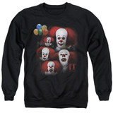 IT 1990 Many Faces Of Pennywise Adult Crewneck Sweatshirt Black