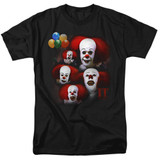 IT 1990 Many Faces Of Pennywise Adult 18/1 T-Shirt Black