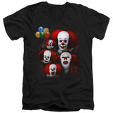 IT 1990 Many Faces Of Pennywise Adult V-Neck T-Shirt Black